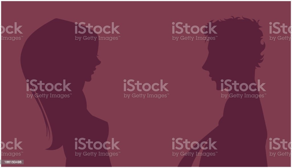 Silhouette of couple on background royalty-free stock vector art