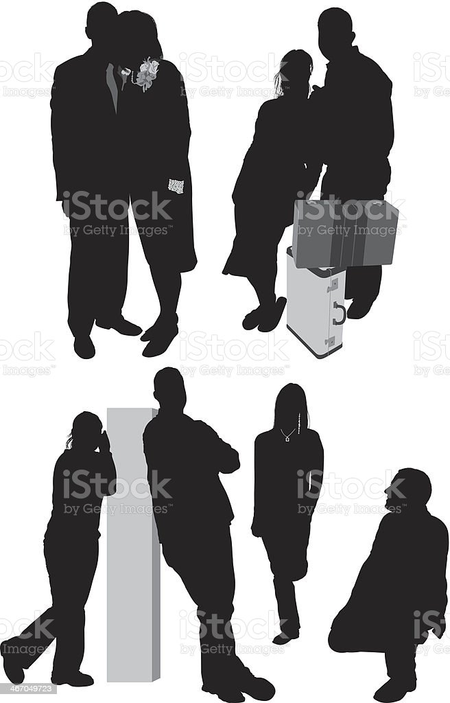 Silhouette of couples in different poses royalty-free stock vector art