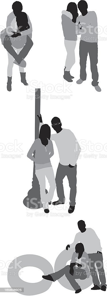 Silhouette of couples vector art illustration