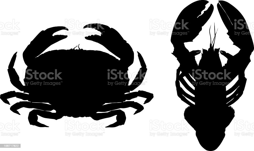 Silhouette of crab and lobster royalty-free stock vector art