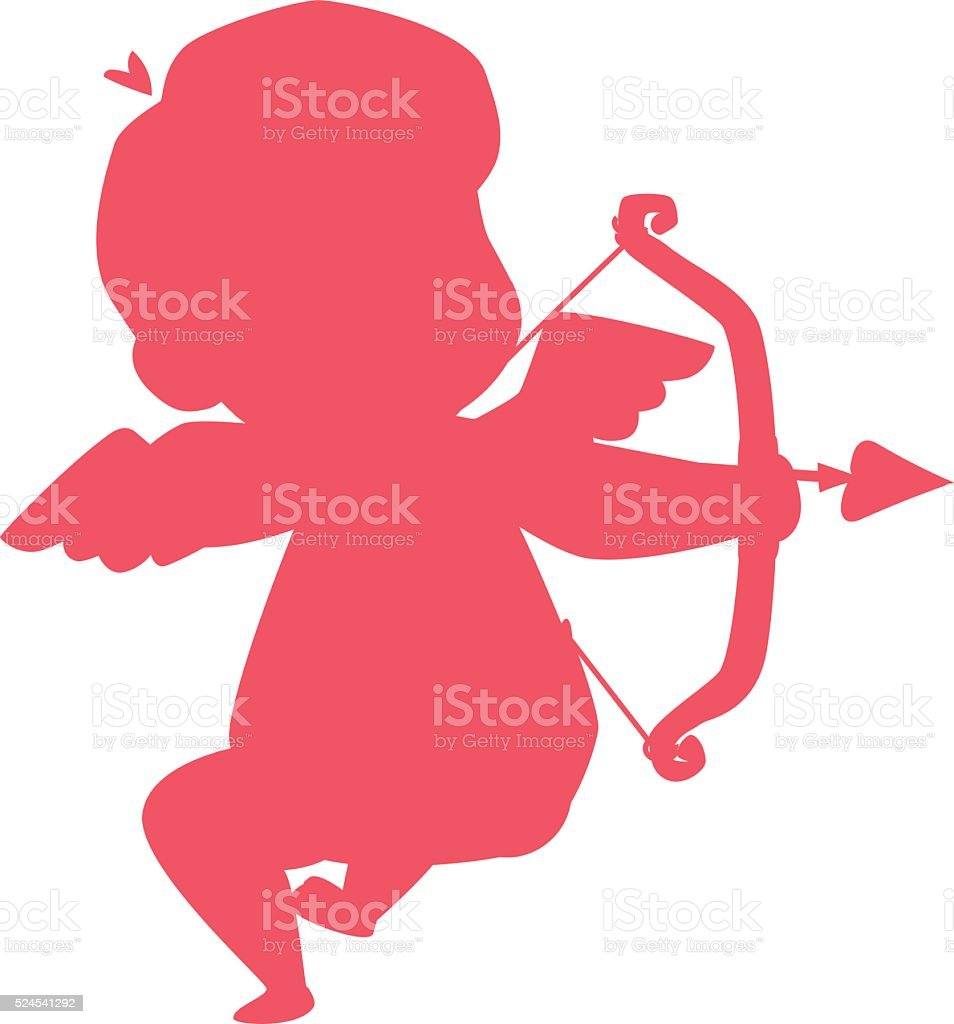 Silhouette of cupid valentine angel love child vector illustration vector art illustration