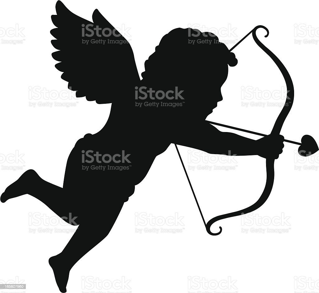 Silhouette of Cupid vector art illustration