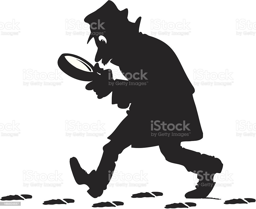 Silhouette of detective holding a magnifier finding trace royalty-free stock vector art