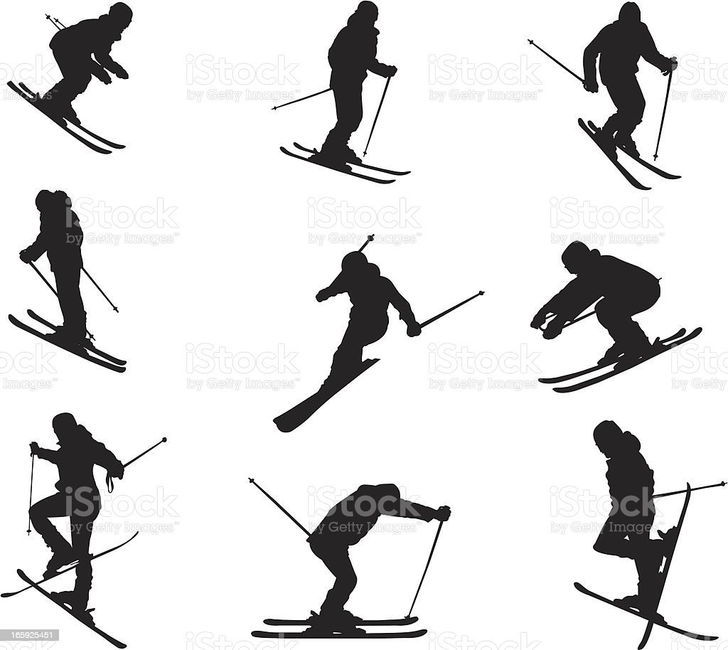 Silhouette of different skiing skills and movements vector art illustration