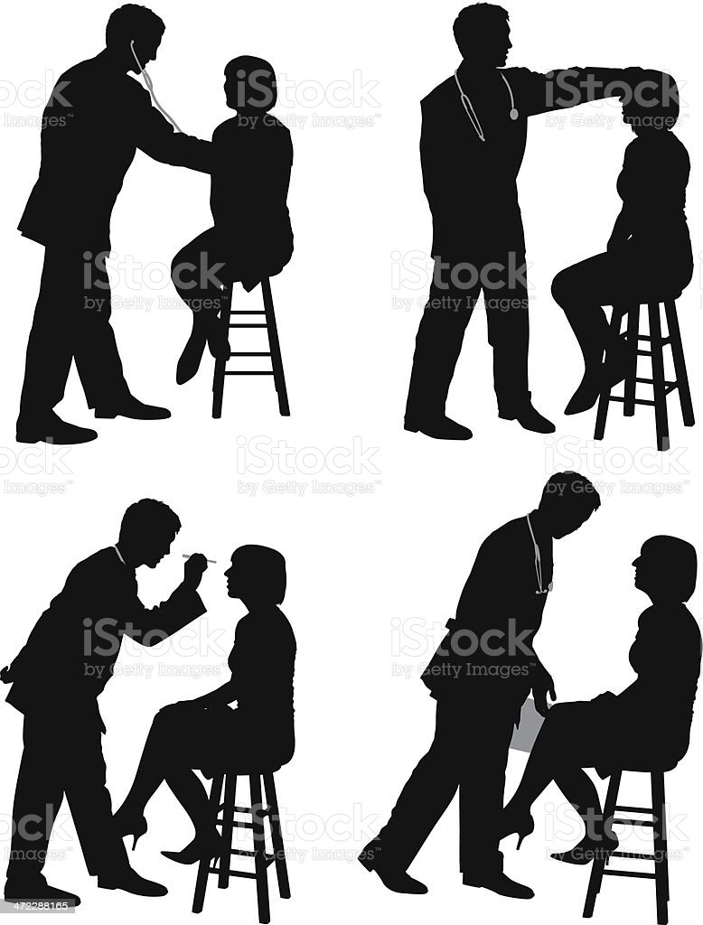 silhouette of doctor examining a patient stock vector art