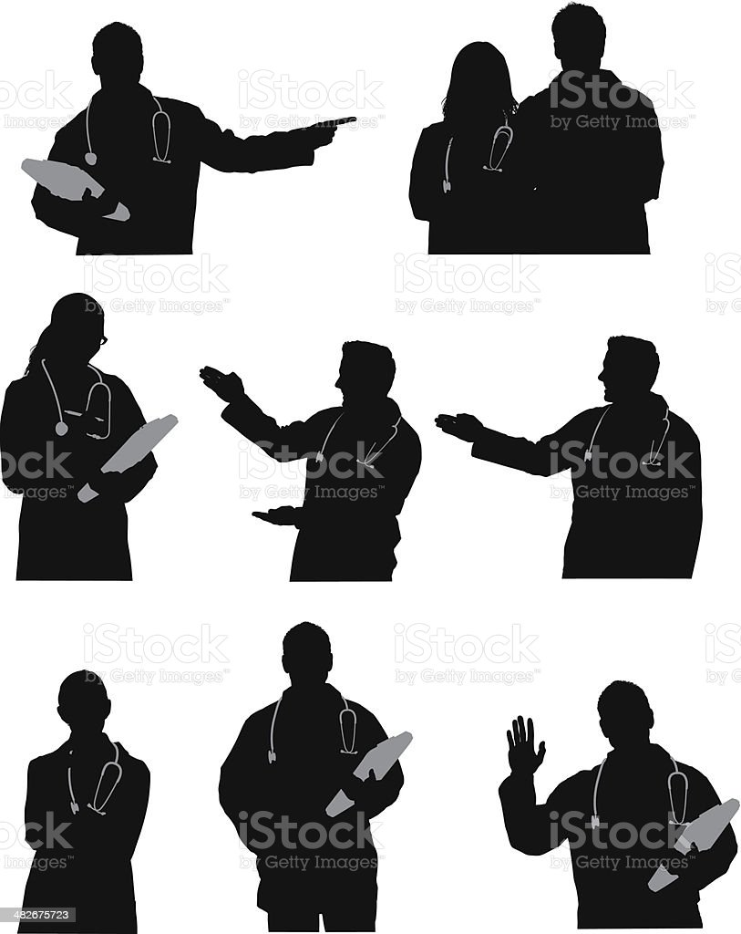 Silhouette of doctors royalty-free stock vector art