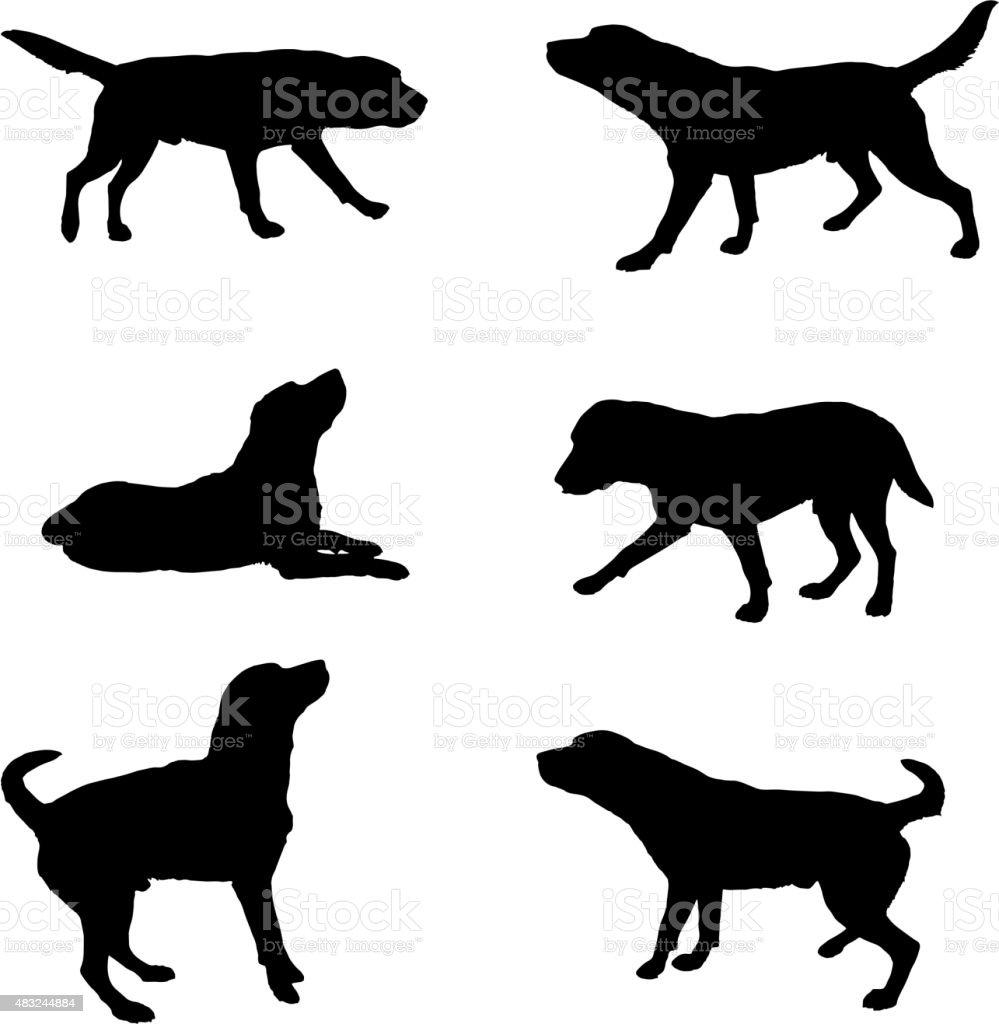 silhouette of dogs vector art illustration