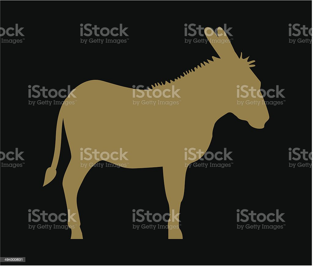 Silhouette of donkey vector art illustration