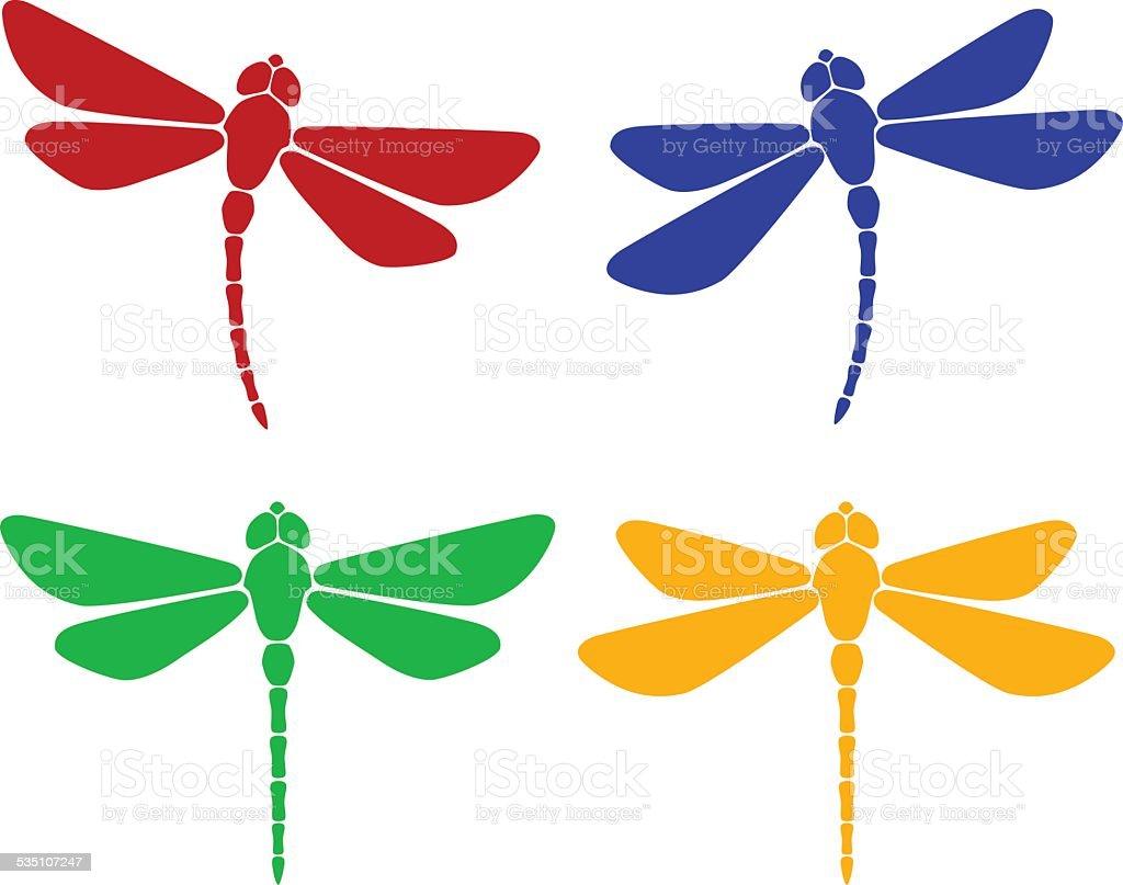 Silhouette of dragonfly vector art illustration