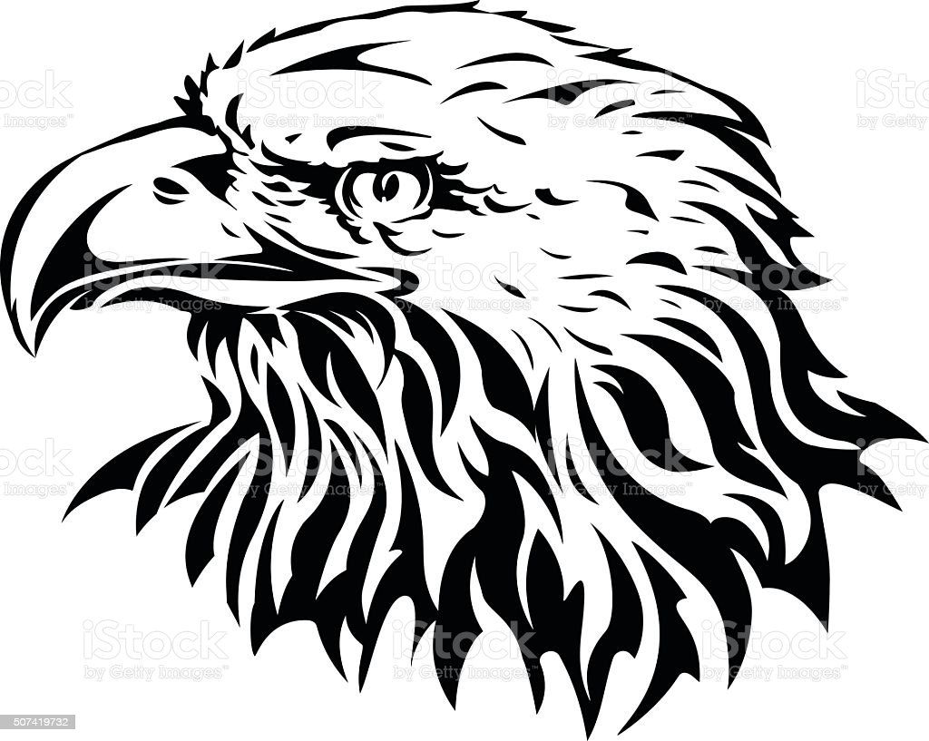 silhouette of eagle head vector art illustration
