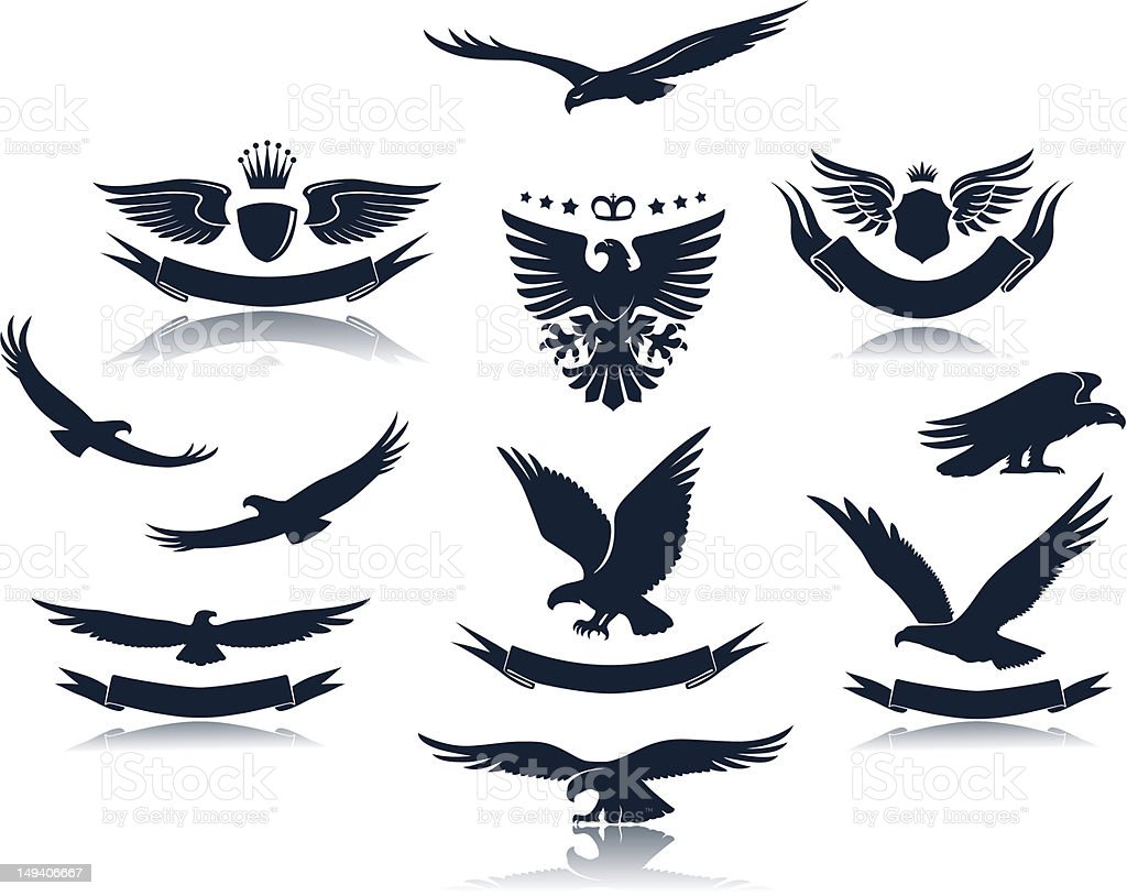Silhouette of eagle stances with emblems vector art illustration