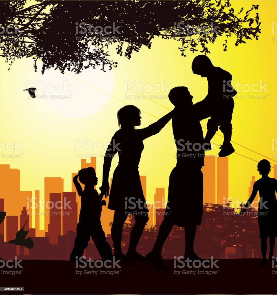 Silhouette of families spending time in the park vector art illustration