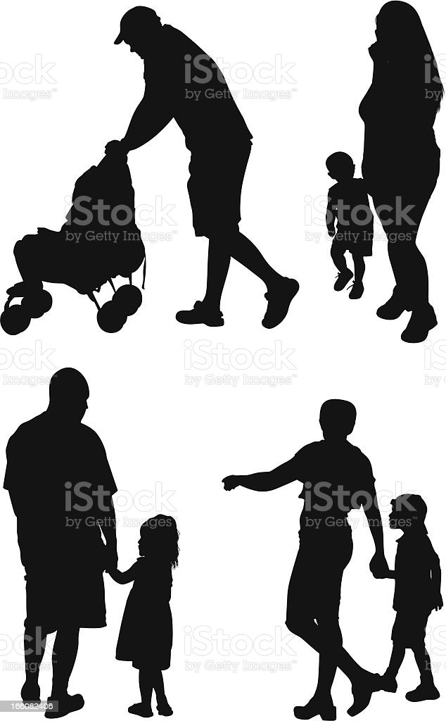 Silhouette of families royalty-free stock vector art