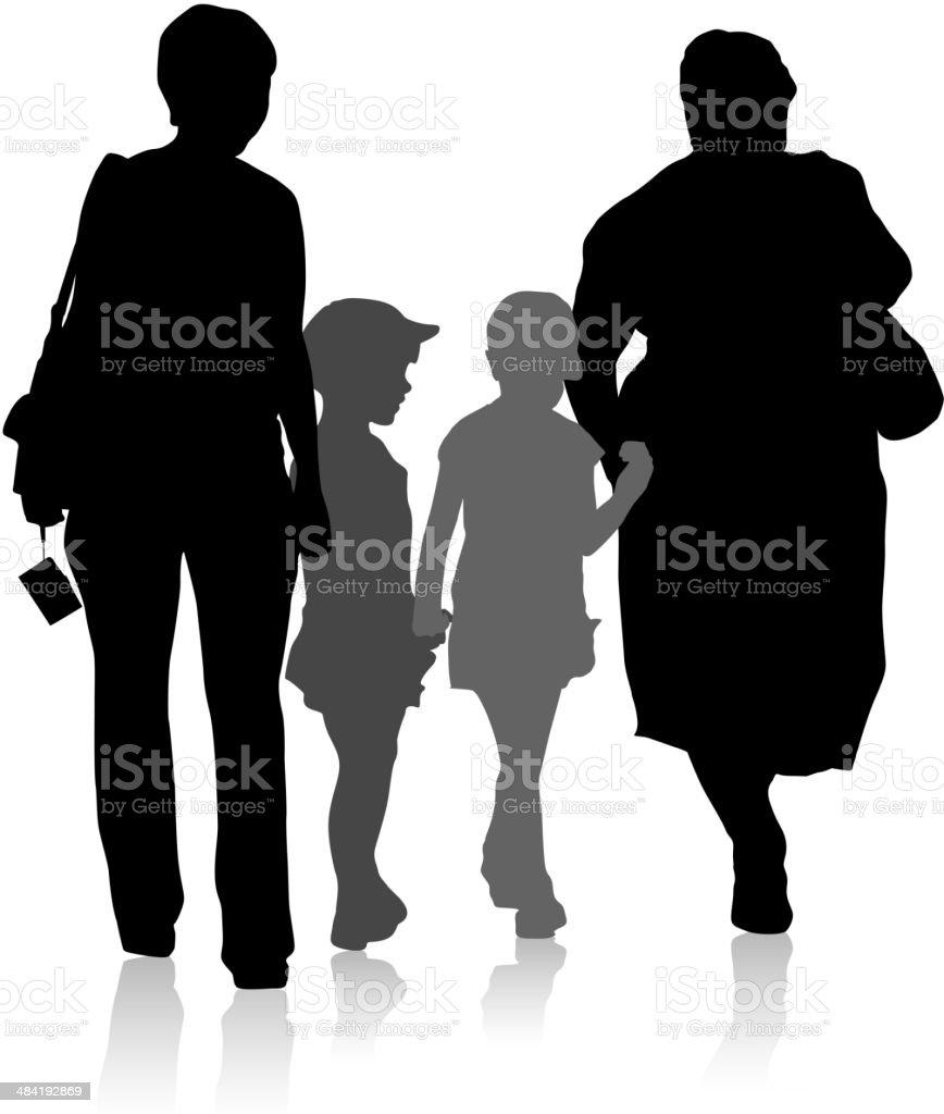 Silhouette of family vector art illustration