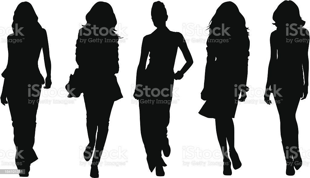 Silhouette of fashion model poses vector art illustration