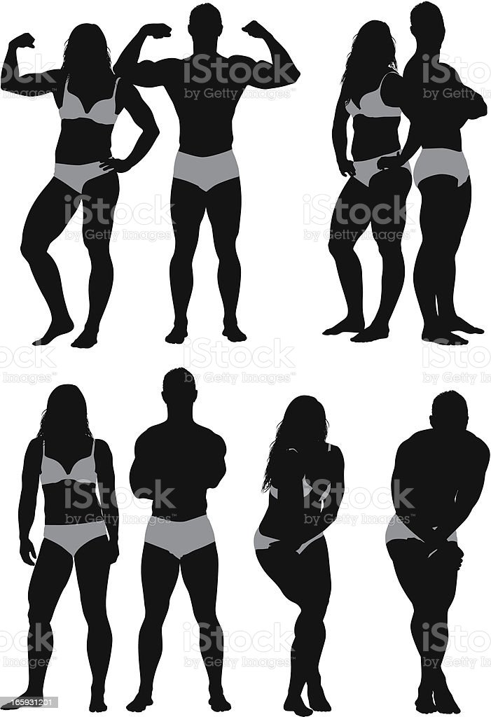 Silhouette of fashion models royalty-free stock vector art