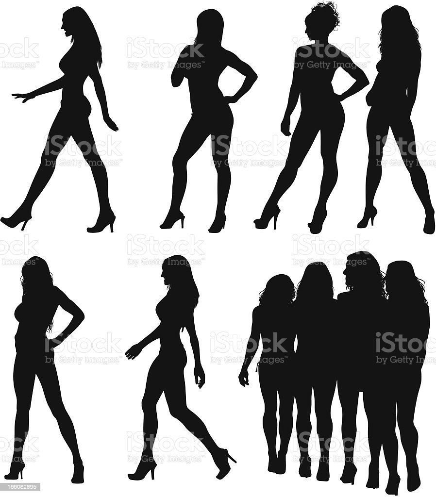 Silhouette of fashion models vector art illustration