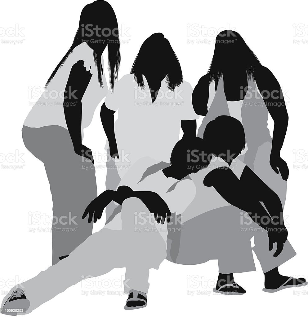 Silhouette of female friends royalty-free stock vector art