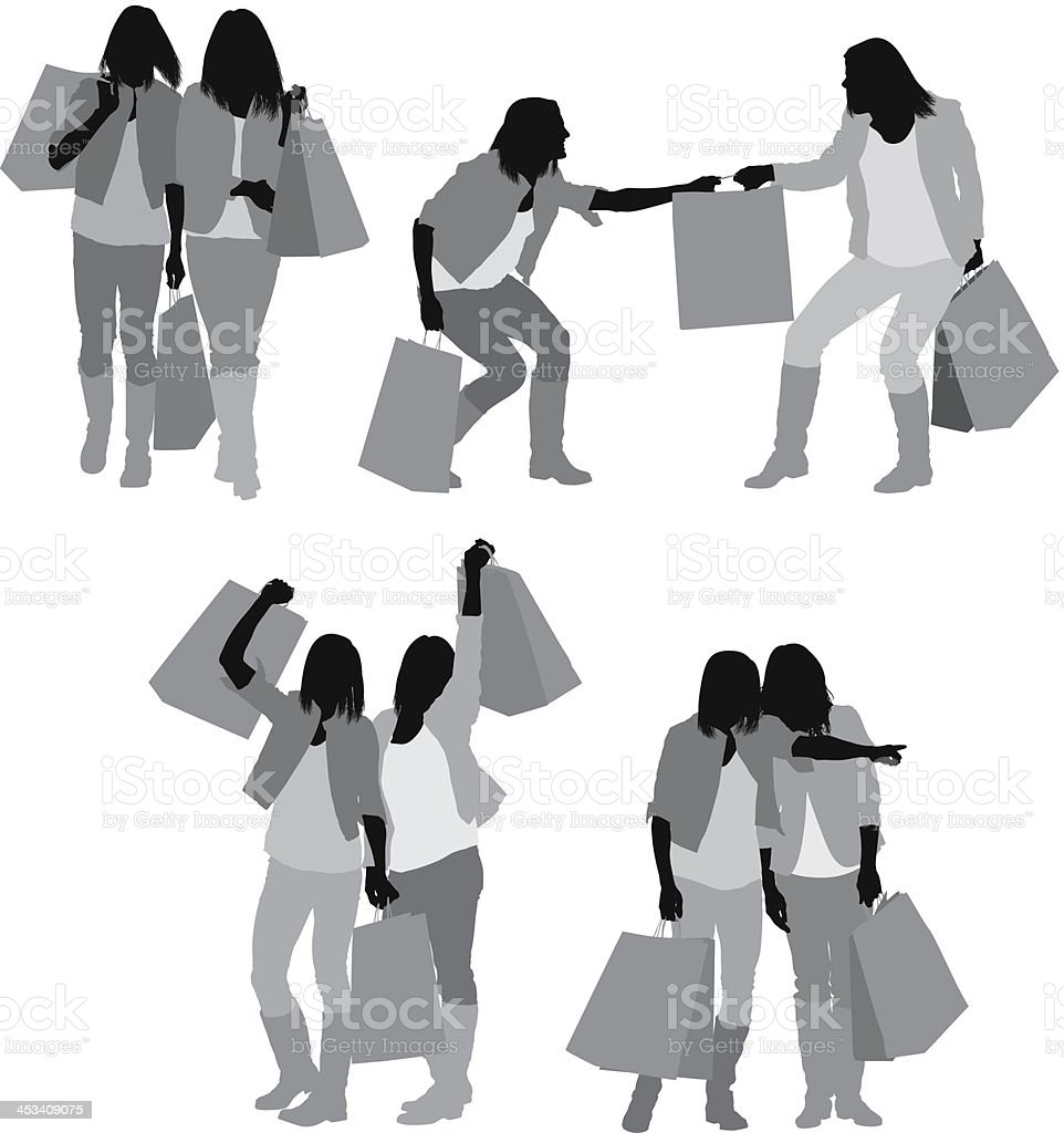 Silhouette of female friends with shopping bags royalty-free stock vector art