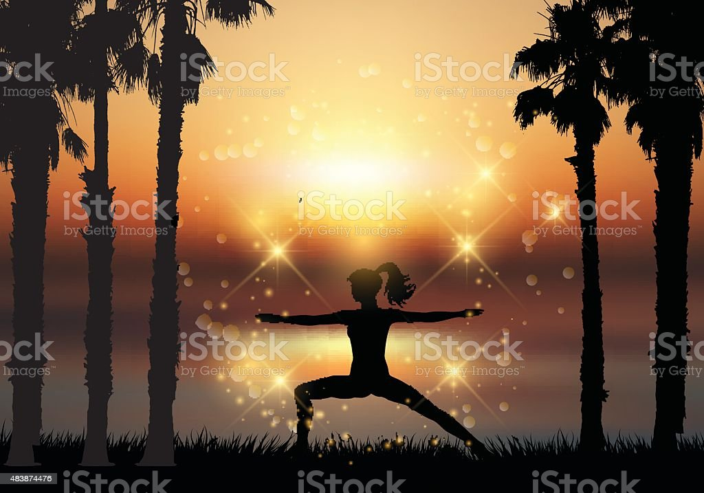 Silhouette of female in yoga pose in tropical landscape vector art illustration