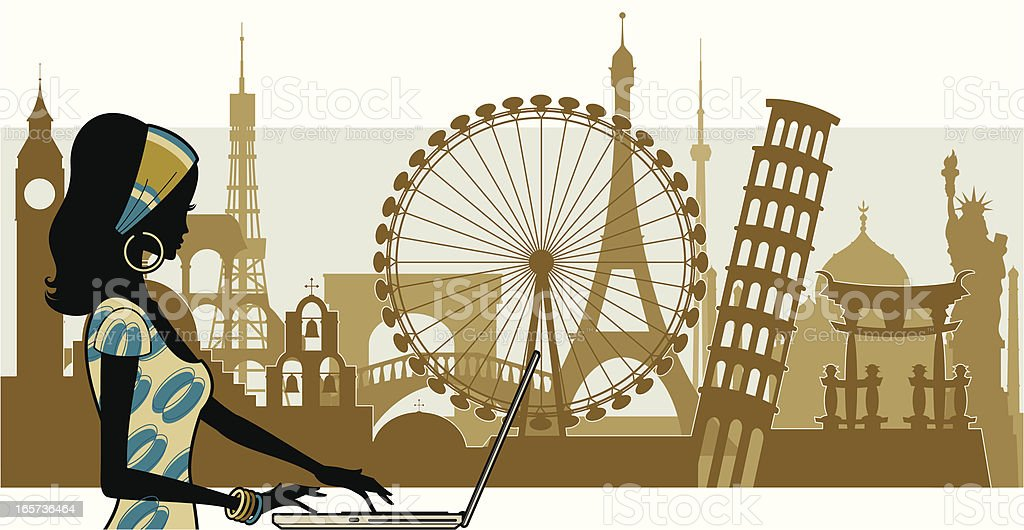 Silhouette of female travel blogger recounting trips royalty-free stock vector art