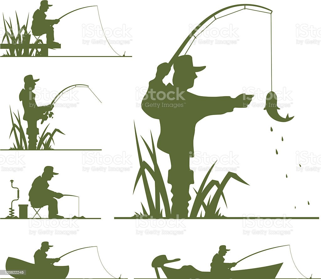 silhouette of fisherman vector art illustration