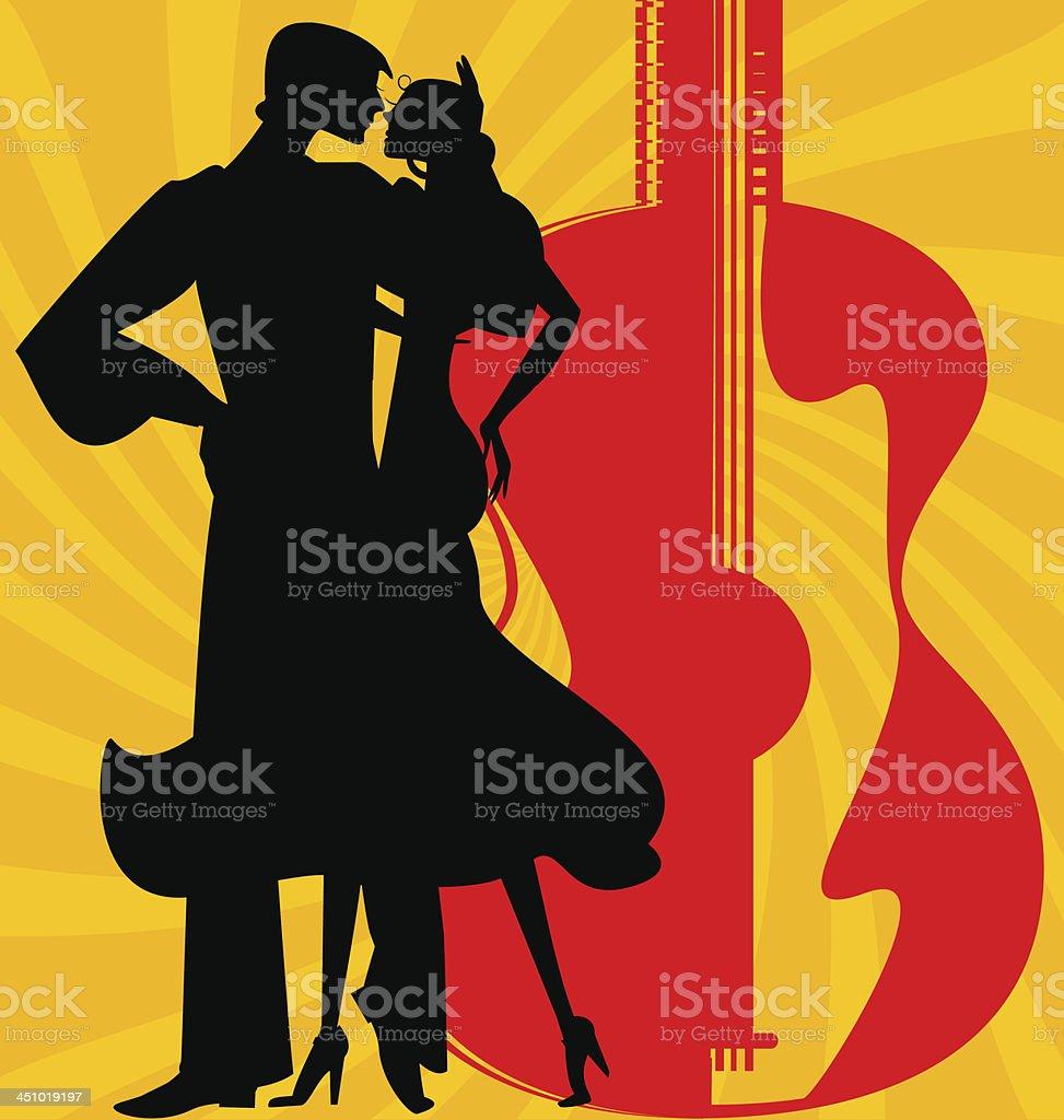 silhouette of  flamenco dancers vector art illustration