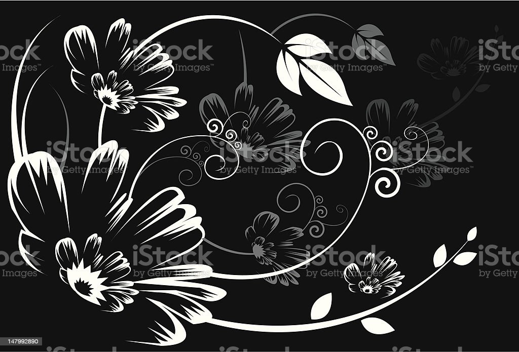 Silhouette of Floral designs royalty-free stock vector art