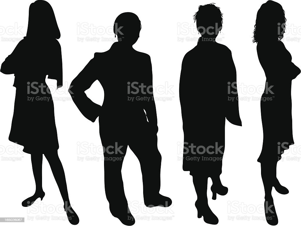 Silhouette of four business women on white background royalty-free stock vector art