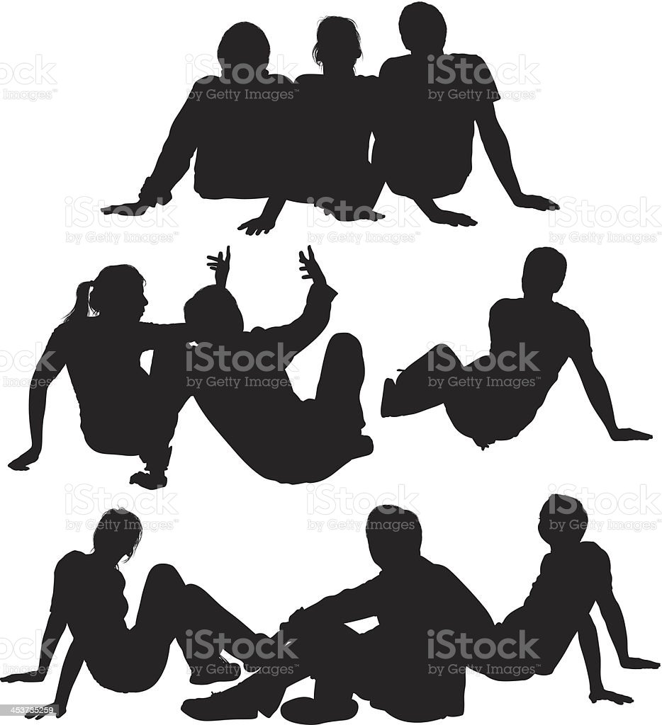 Silhouette of friends vector art illustration