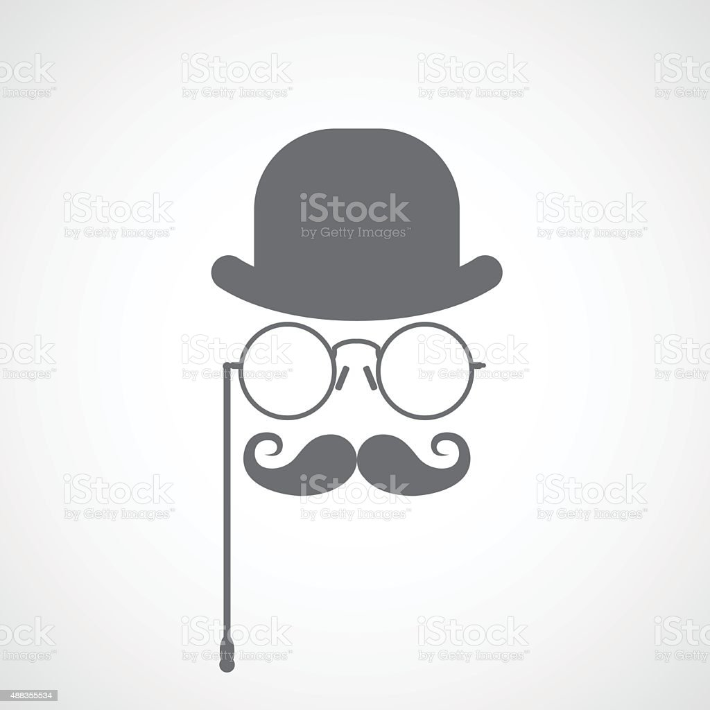 Silhouette of gentleman's face - capitalist or hipster vector art illustration