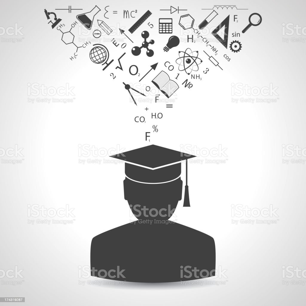 Silhouette of graduate with educational icons above the head vector art illustration