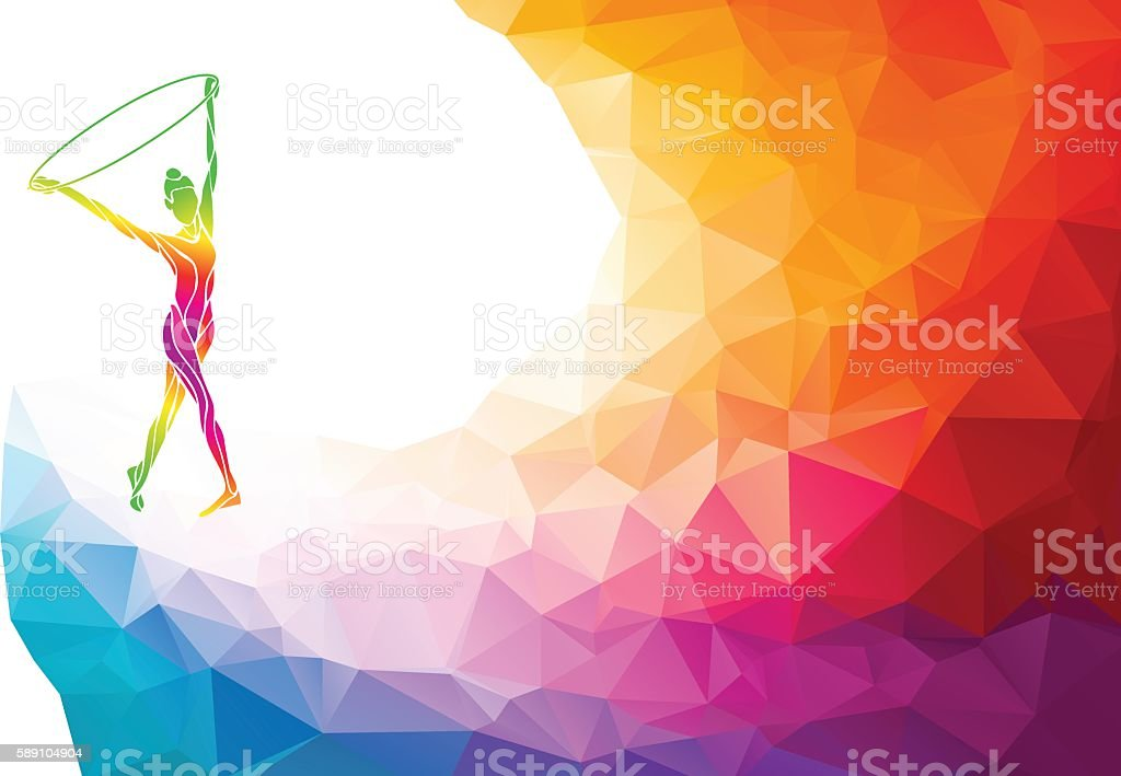 Silhouette of gymnastic girl on rainbow back vector art illustration