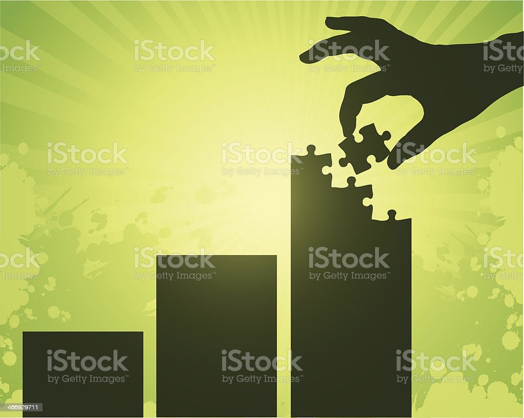 Silhouette of hand adding puzzle piece to a bar graph vector art illustration