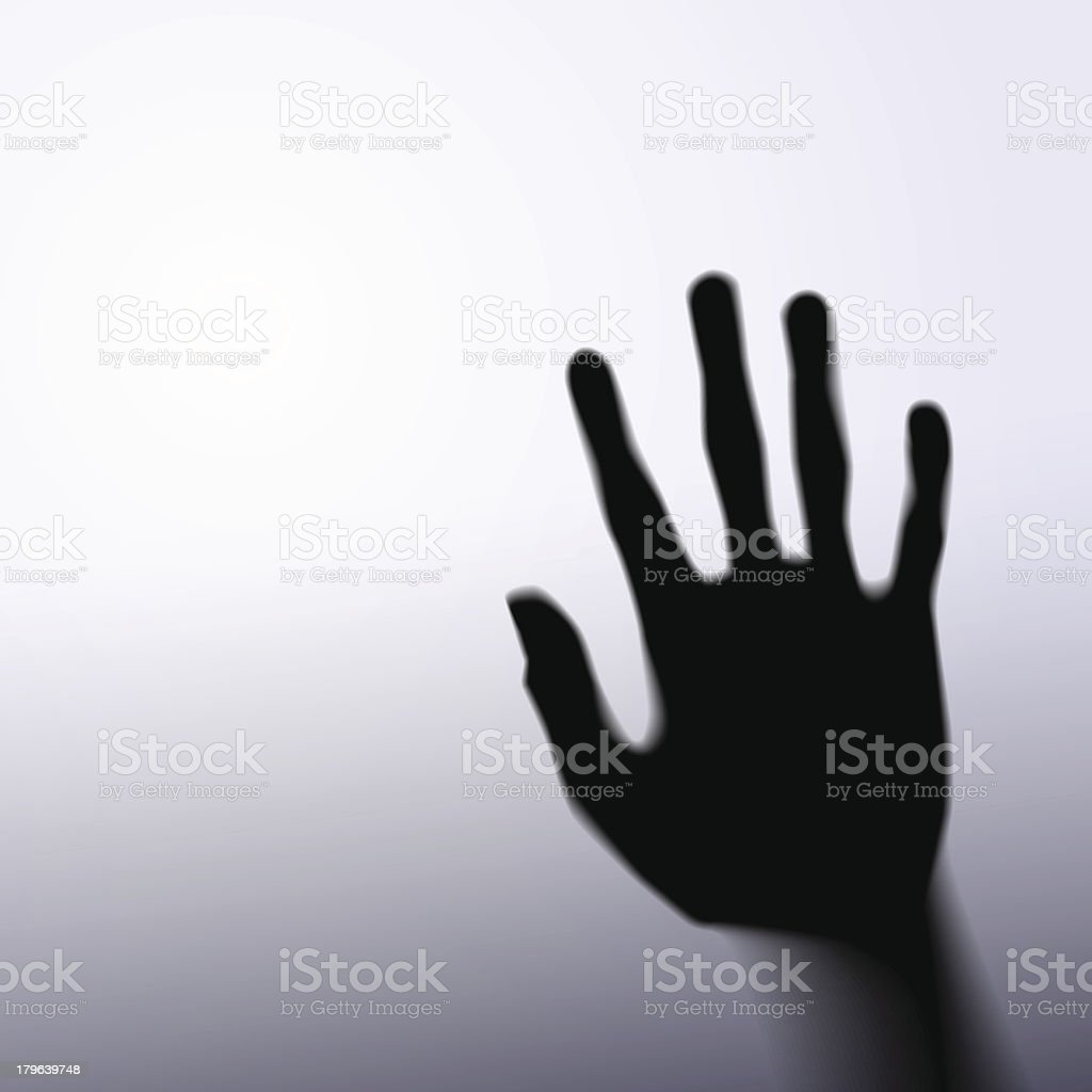 Silhouette of hand with glass vector art illustration