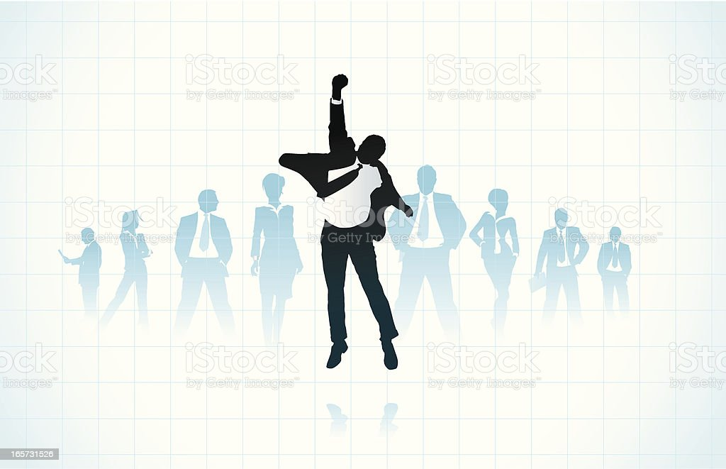 Silhouette of happy businessman and other businesspeople vector art illustration