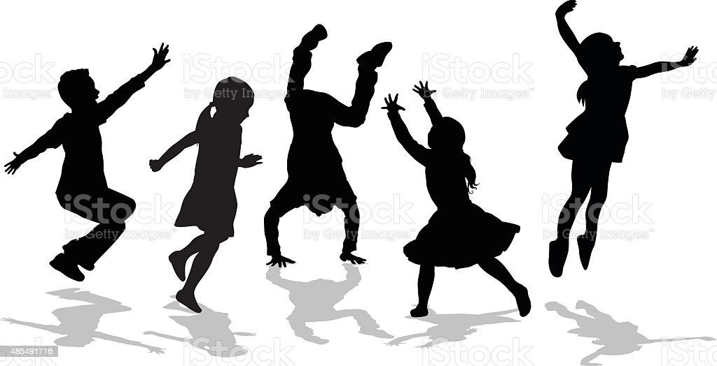 Silhouette Of High Energy Active Kids vector art illustration