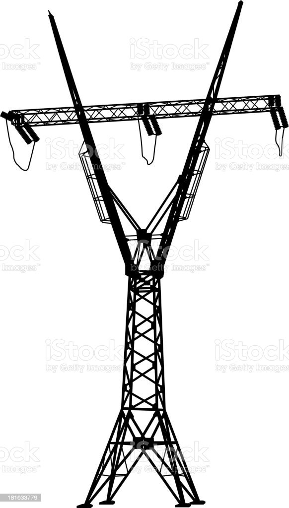 Silhouette of high voltage power lines royalty-free stock vector art