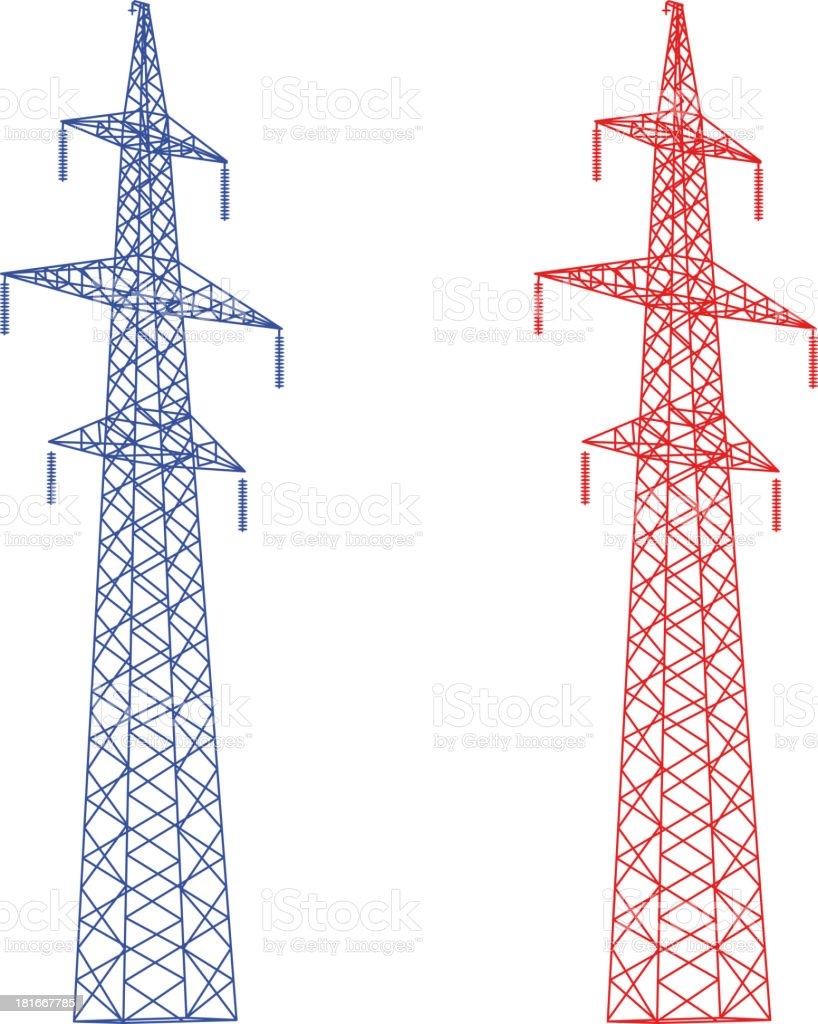 Silhouette of high voltage power lines. royalty-free stock vector art