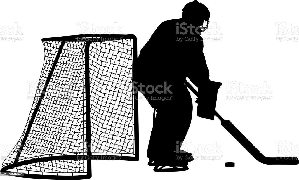 Silhouette of hockey goalkeeper. Isolated on white. Vector illustrations vector art illustration