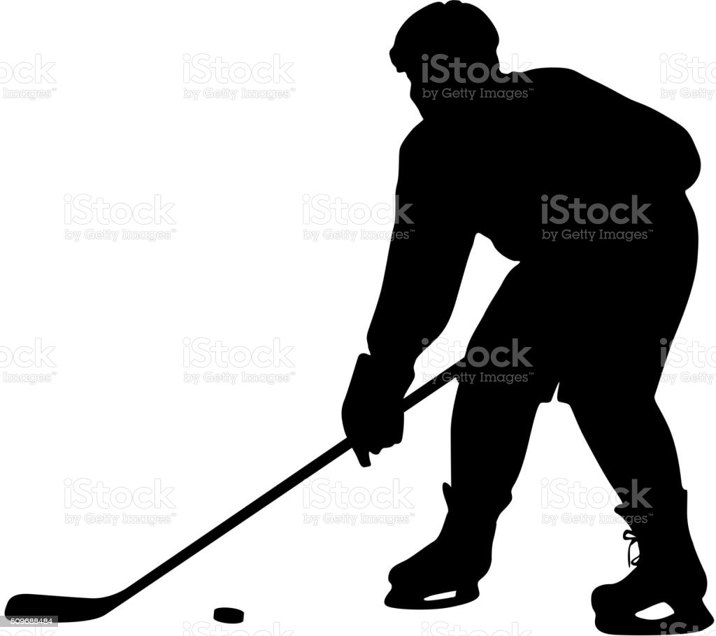 silhouette of hockey player. Isolated on white. Vector vector art illustration