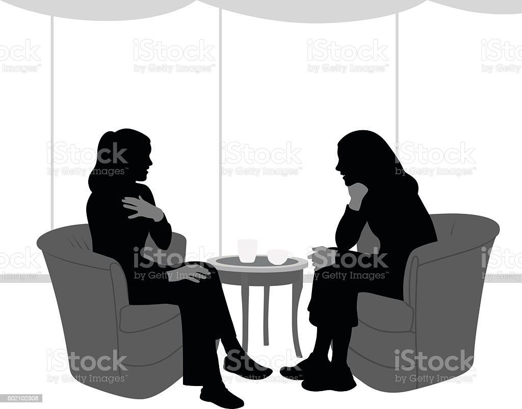 Silhouette Of Intimate Talk Between Girlfriends vector art illustration