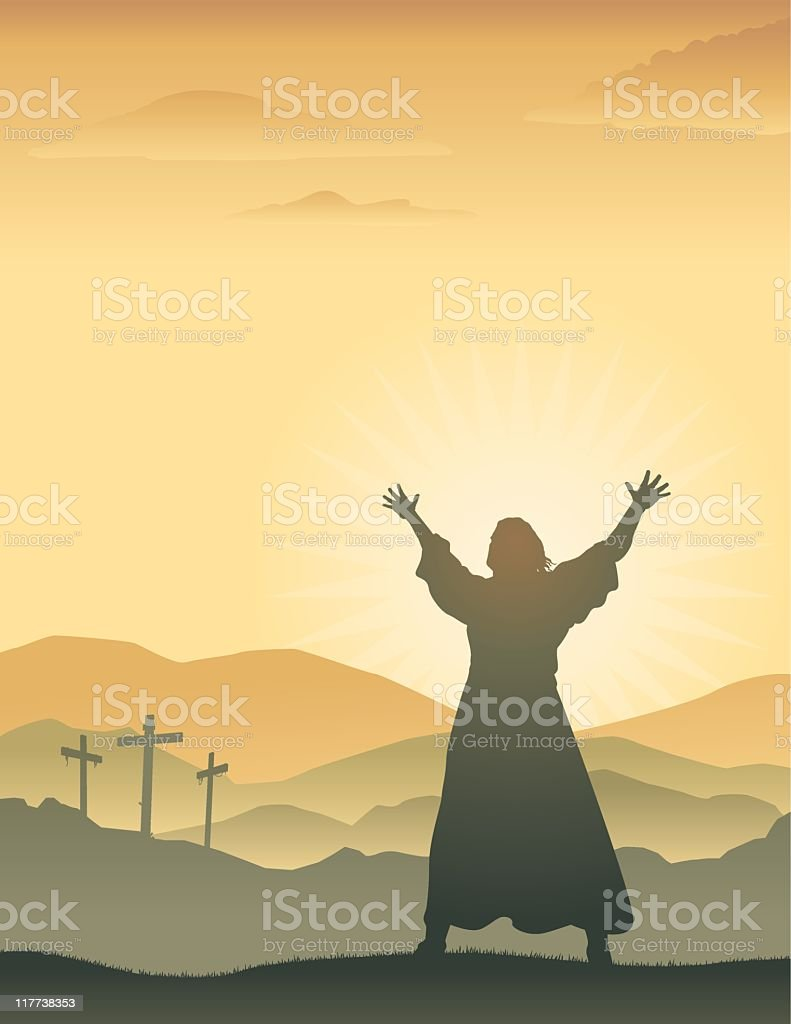 Silhouette of Jesus with raised arms on Easter morning royalty-free stock vector art
