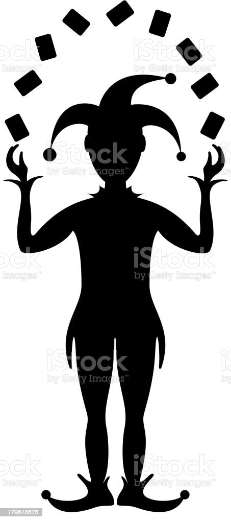 Silhouette of Joker playing with cards royalty-free stock vector art