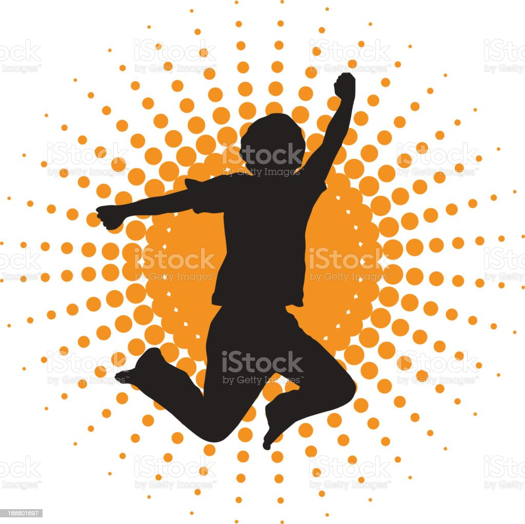 silhouette of jumping men vector art illustration