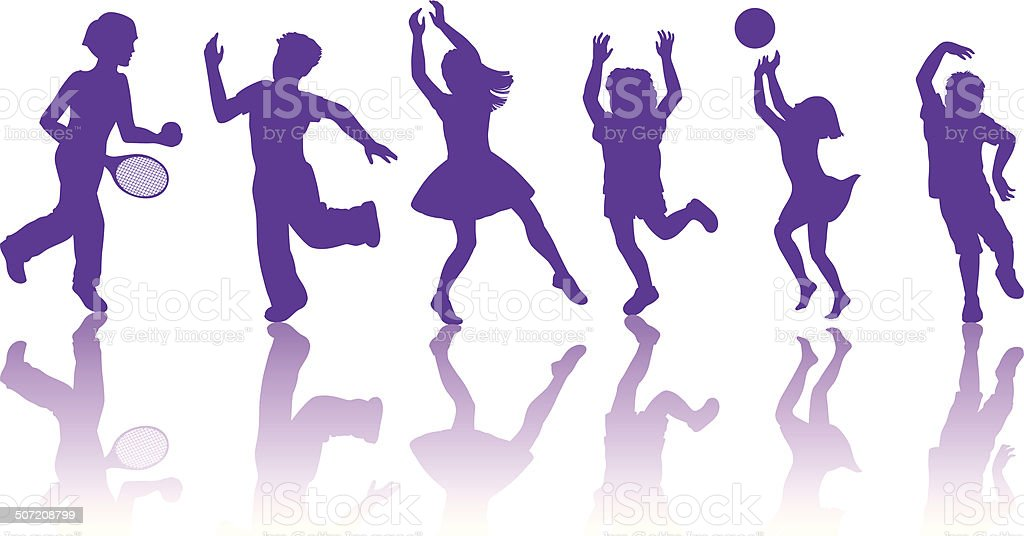 Silhouette of  little boys and girls dancing and playing together vector art illustration