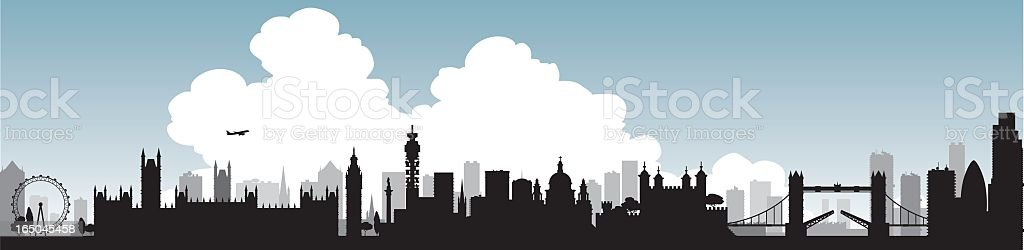 Silhouette of London skyline with single large cloud graphic royalty-free stock vector art