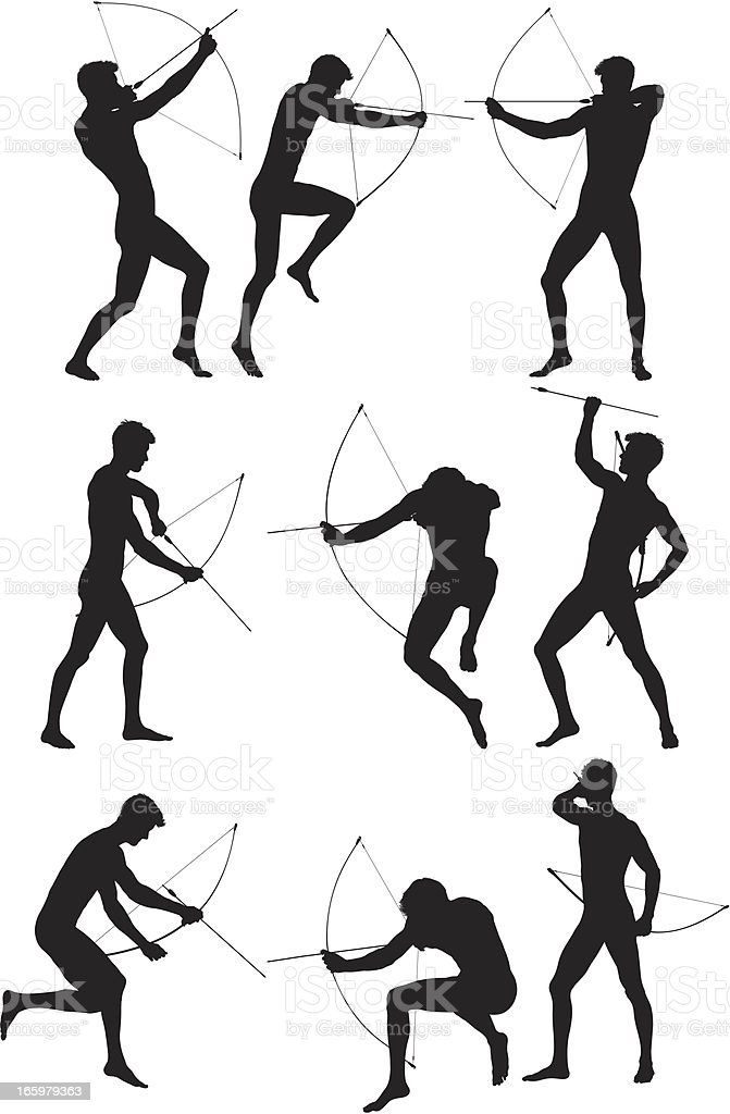 Silhouette of man aiming with a bow and arrow royalty-free stock vector art