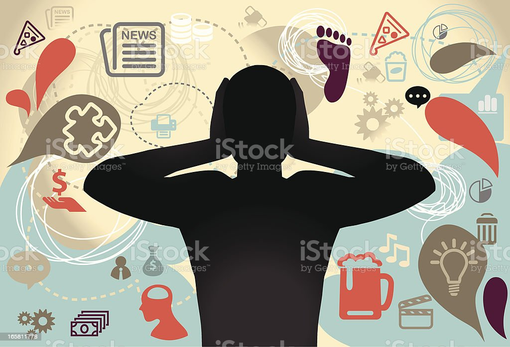 A silhouette of man holding both ears due to noise royalty-free stock vector art
