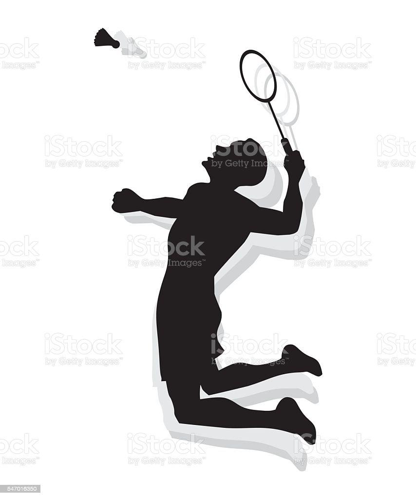 Silhouette of man playing badminton vector art illustration